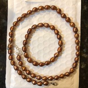 Chocolate Pearl Necklace & Bracelet Set